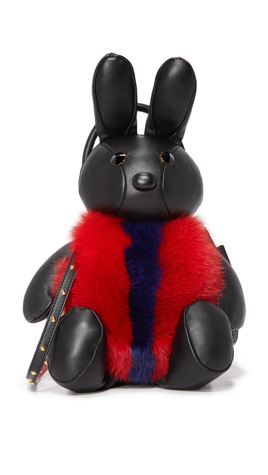 mcm female 188971 mcm rabbit cross body bag black