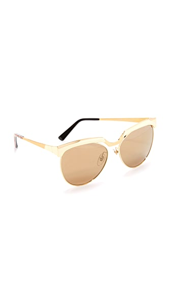 MCM Metal Brow Bar Sunglasses - Shiny Gold/Gold