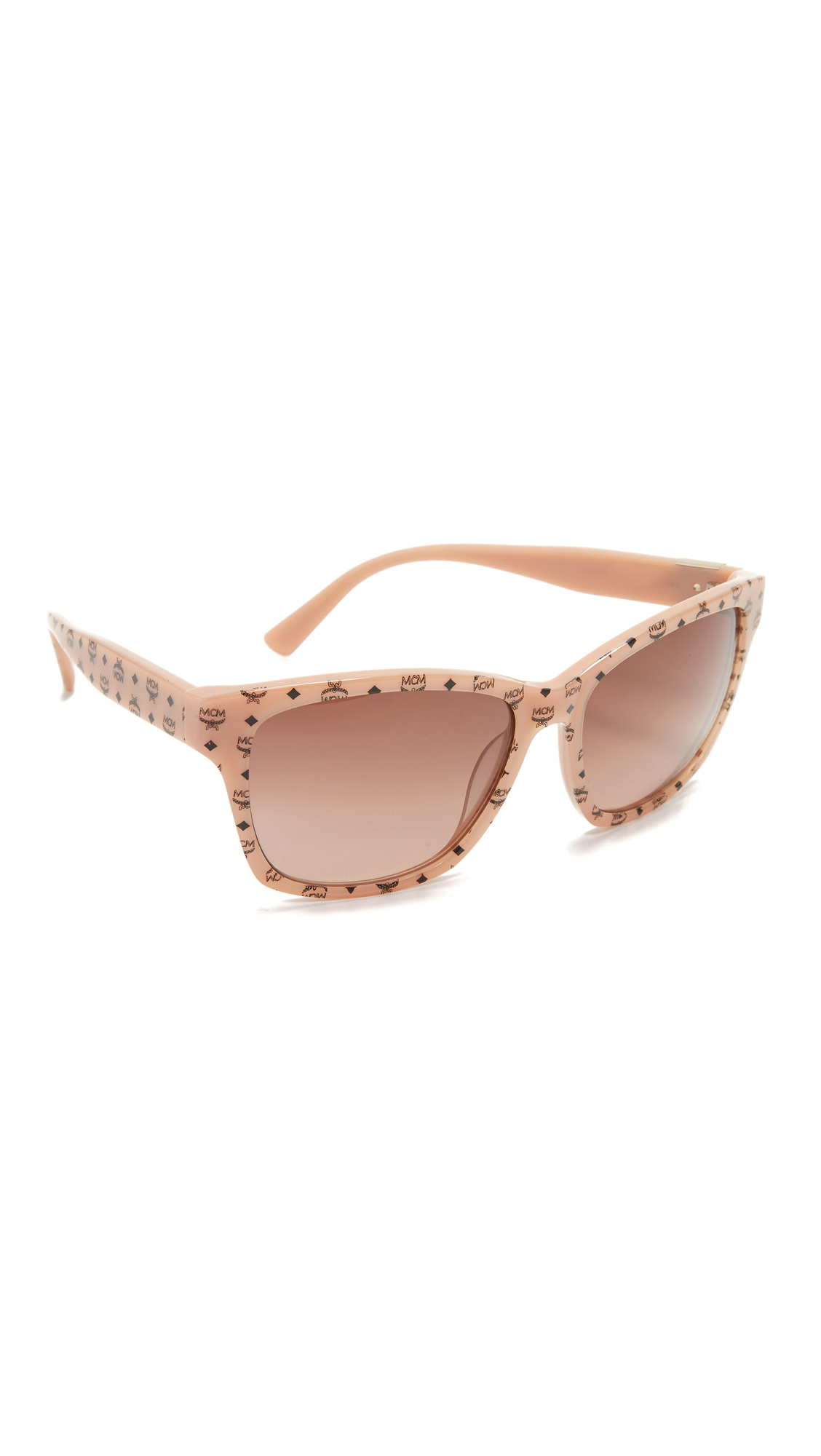 Tiny logos accent the glossy frames of these MCM sunglasses. Hard case and cleaning cloth included. Rectangular frame. Non polarized lenses. Imported, China. Measurements Width: 6in / 15.5cm Height: 2.25in / 5.5cm Lens Width: 59mm. Available sizes: One