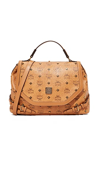 MCM Visettos Top Handle Satchel - Cognac