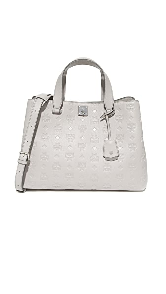 MCM Monogram Satchel In Dove