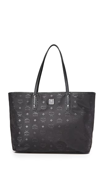 MCM Nylon Zip Top Tote - Black