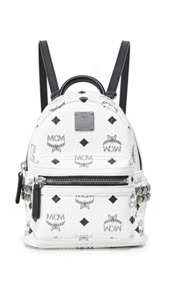 MCM Mini Stark Backpack - White