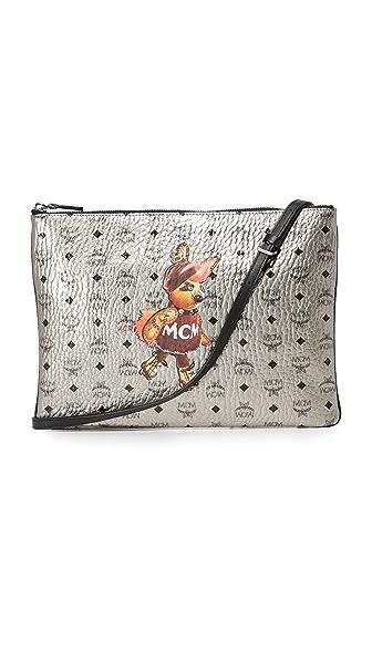 MCM Medium Pouch Cross Body Bag - Silver Shadow