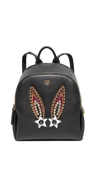 MCM Polke Bunny Backpack - Black
