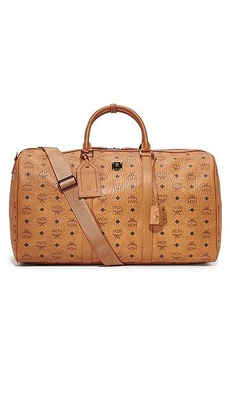 MCM Visetos Large Duffel Bag in Cognac