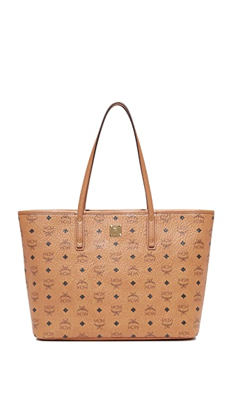 MCM Anya Zip Top Shopper Tote - Cognac