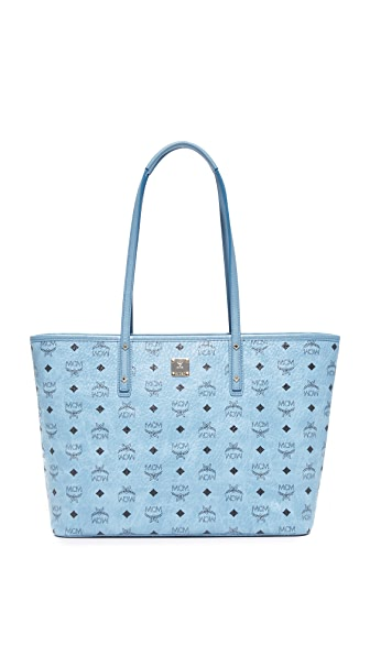 MCM Anya Zip Top Shopper Tote - Denim