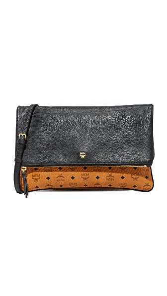 MCM Corina Visetos Cross Body Clutch - Cognac