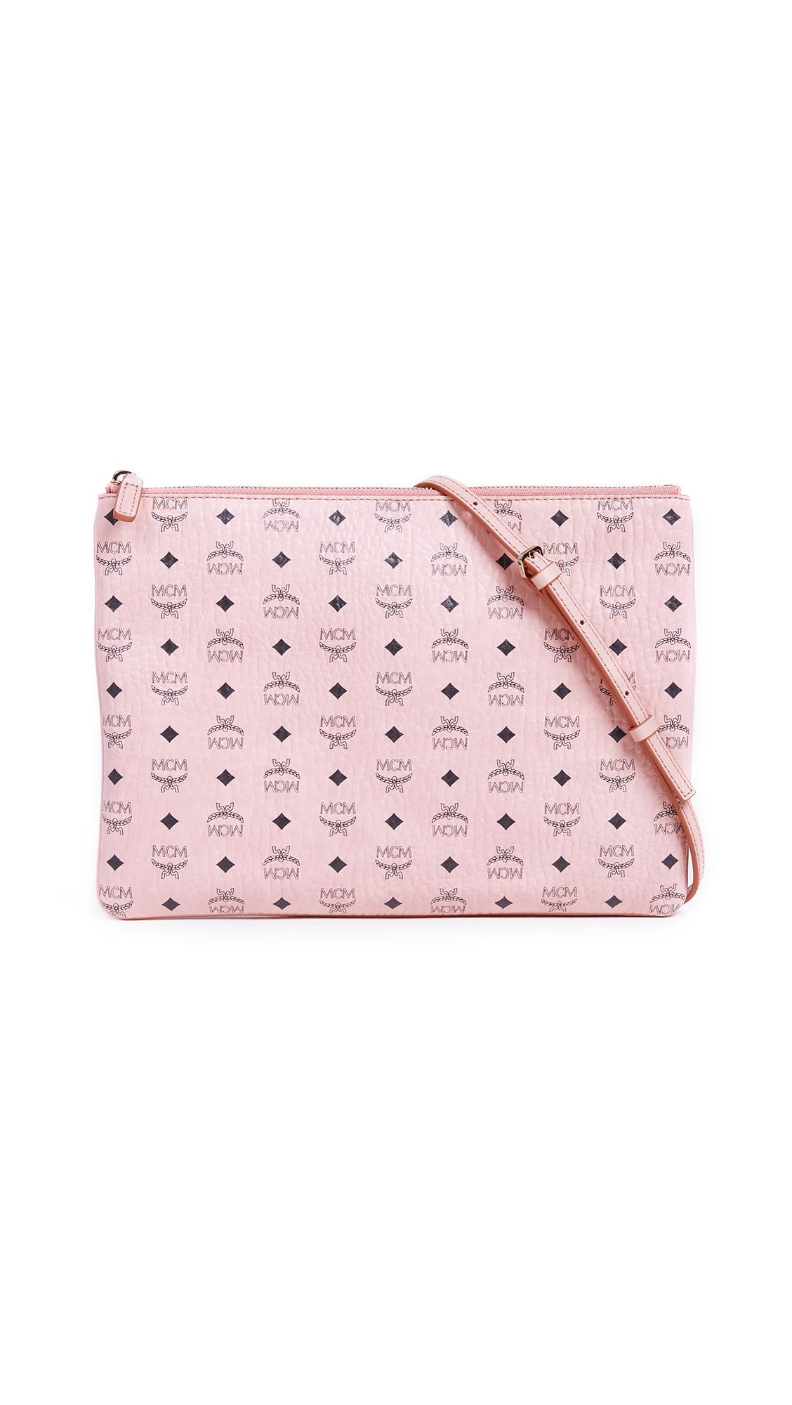 MCM Color Visetos Cross Body Pouch - Soft Pink