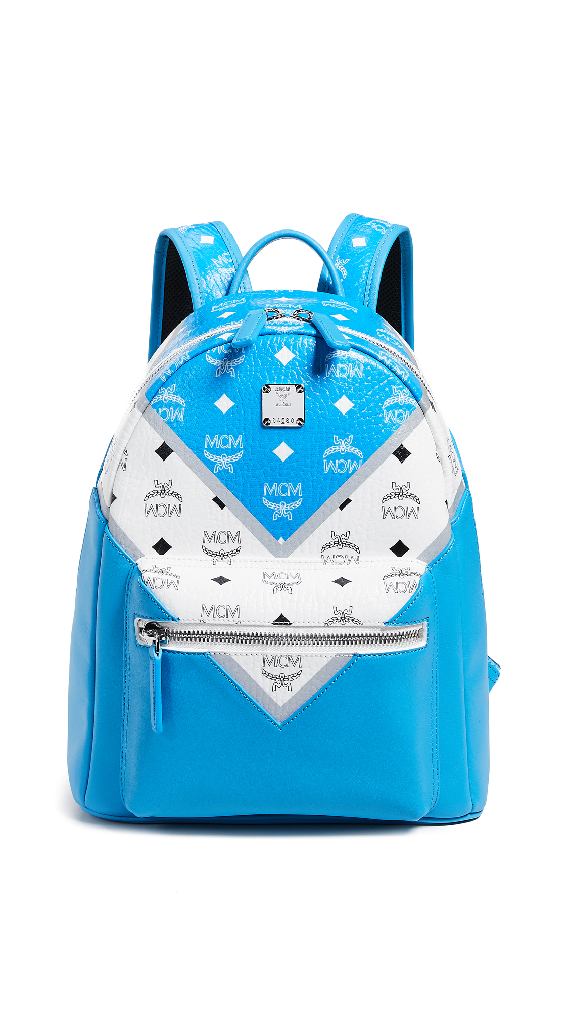 MCM Stark Medium Move Color-Block Backpack in Blue/White