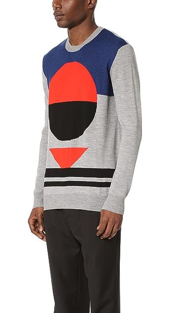 McQ - Alexander McQueen Block Geo Intarsia Crew Neck Sweater