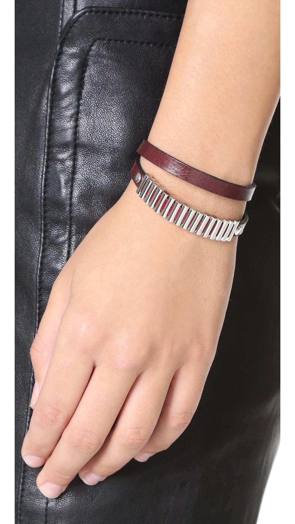 Alexander McQueen Mini Bullets Wrap Bracelet in Burgundy hgFI46
