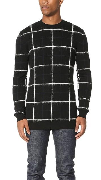 McQ - Alexander McQueen Brushed Stripe Grid Crew Sweater