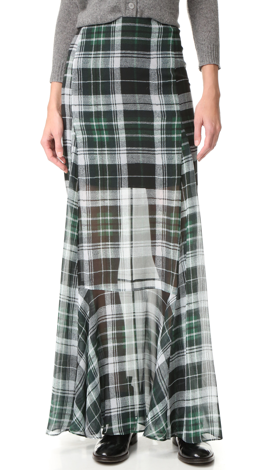 A plaid silk chiffon McQ   Alexander McQueen skirt with a fluid, airy drape. Hidden back zip. Lined to mid thigh. Fabric: Chiffon. Shell: 100% silk. Lining: 97% polyester/3% elastane. Dry clean. Imported, China. Measurements Length: 42.5in / 108cm Measurements