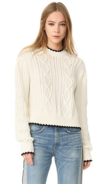 McQ - Alexander McQueen Scallop Cable Sweater In Ivory