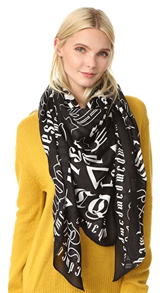 McQ - Alexander McQueen Gothic Text Square Scarf