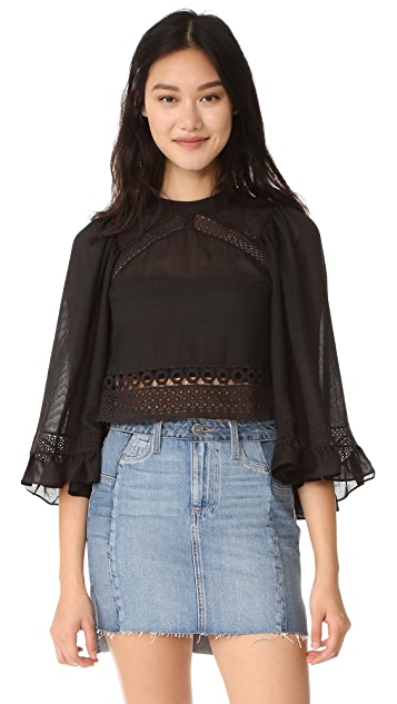 McQ - Alexander McQueen Volume Sleeve Lace Top