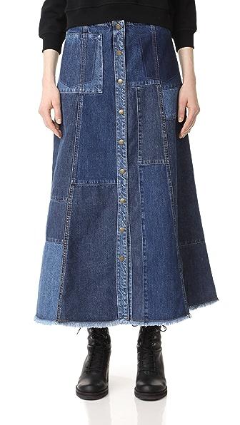 McQ - Alexander McQueen Patched A-Line Denim Skirt