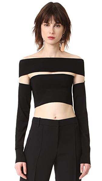 McQ - Alexander McQueen Bandeau Sleeves Top - Darkest Black