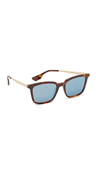McQ - Alexander McQueen Rectangle Sunglasses In Havana/Blue