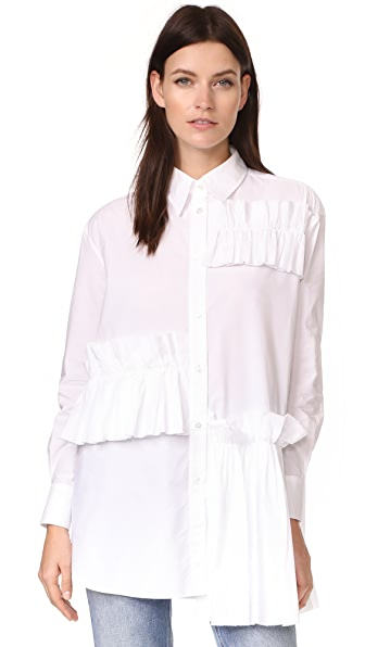McQ - Alexander McQueen Ruffle Tunic Shirt - Optic White