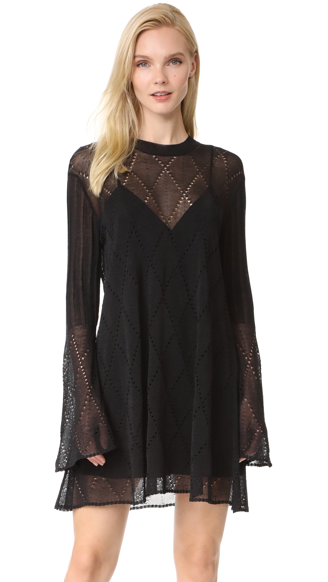 McQ - Alexander McQueen Lace Stripe Flared Dress - Darkest Black