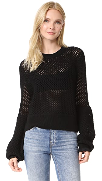 McQ - Alexander McQueen Mesh Knit Crew Neck Sweater - Darkest Black