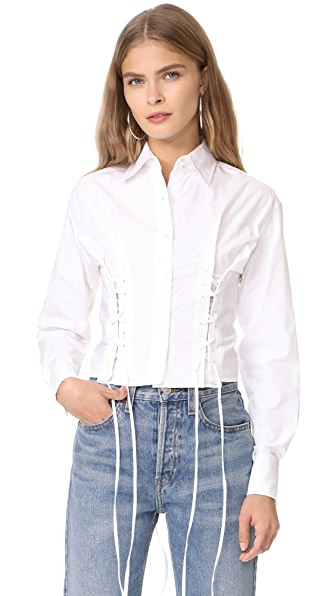 McQ - Alexander McQueen Short Corset Shirt - Optic White