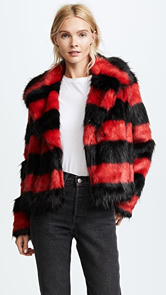McQ - Alexander McQueen Shrunken Faux Fur Peacoat - Red/Black Stripe