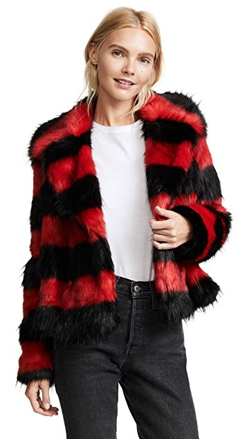 McQ - Alexander McQueen Shrunken Faux Fur Peacoat