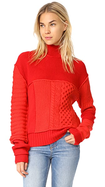 McQ - Alexander McQueen Cable Mix Crop Crew - Electric Red