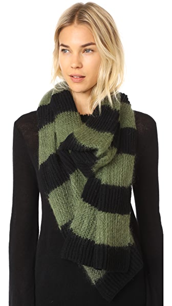 McQ - Alexander McQueen Brushed Stripe Scarf - Dark Black/Military