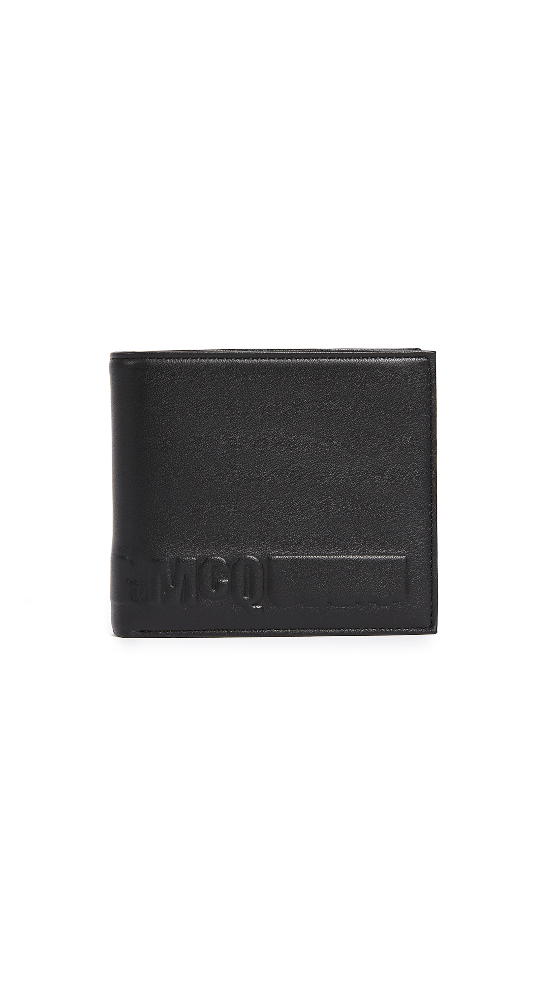 Mcq By Alexander Mcqueen Men'S Wallet Genuine Leather Coin Case Holder Purse Card Trifold, Black