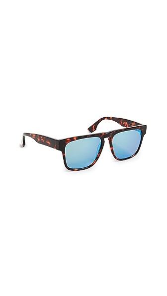 McQ - Alexander McQueen Artstar Flat Top Sunglasses In Red Havana/Blue