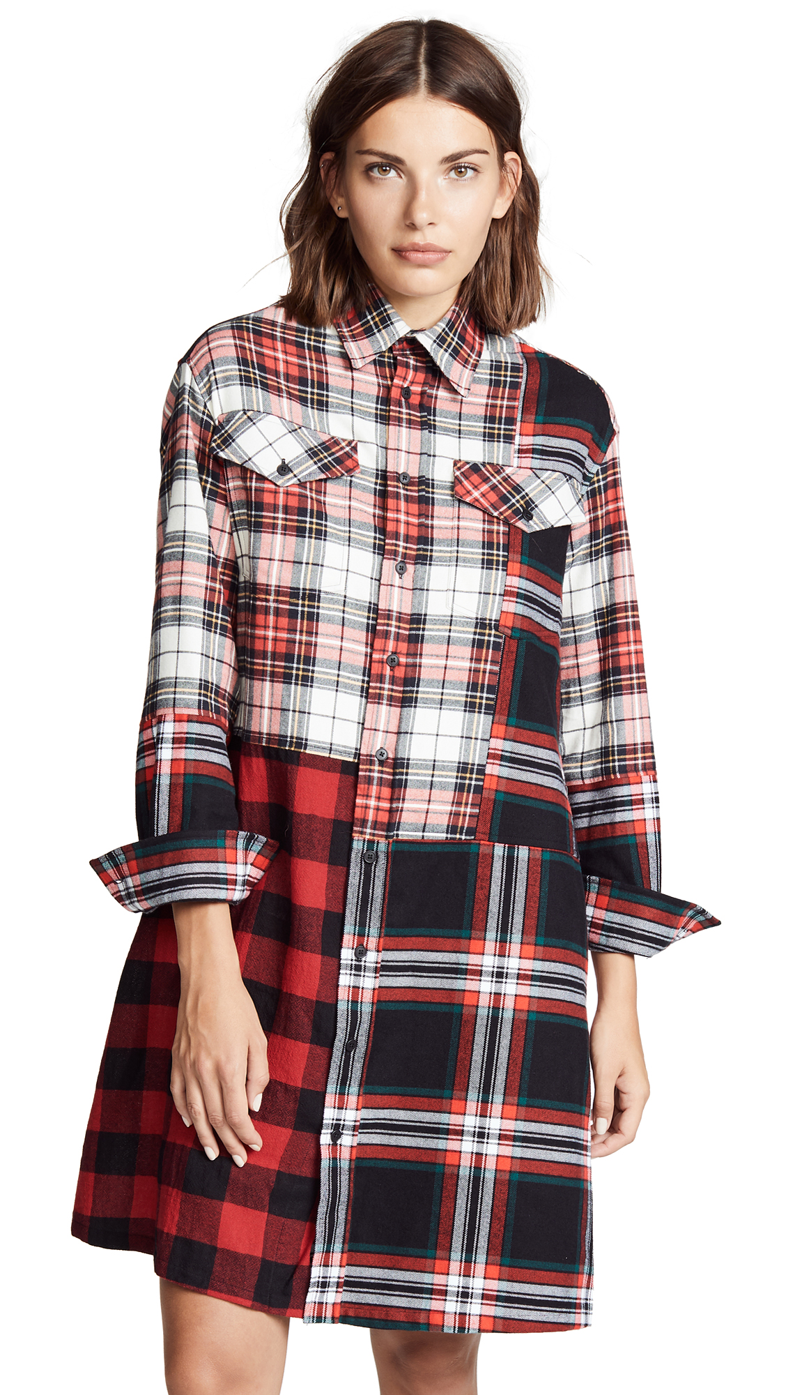 McQ – Alexander McQueen Patched Tartan Shirt Dress