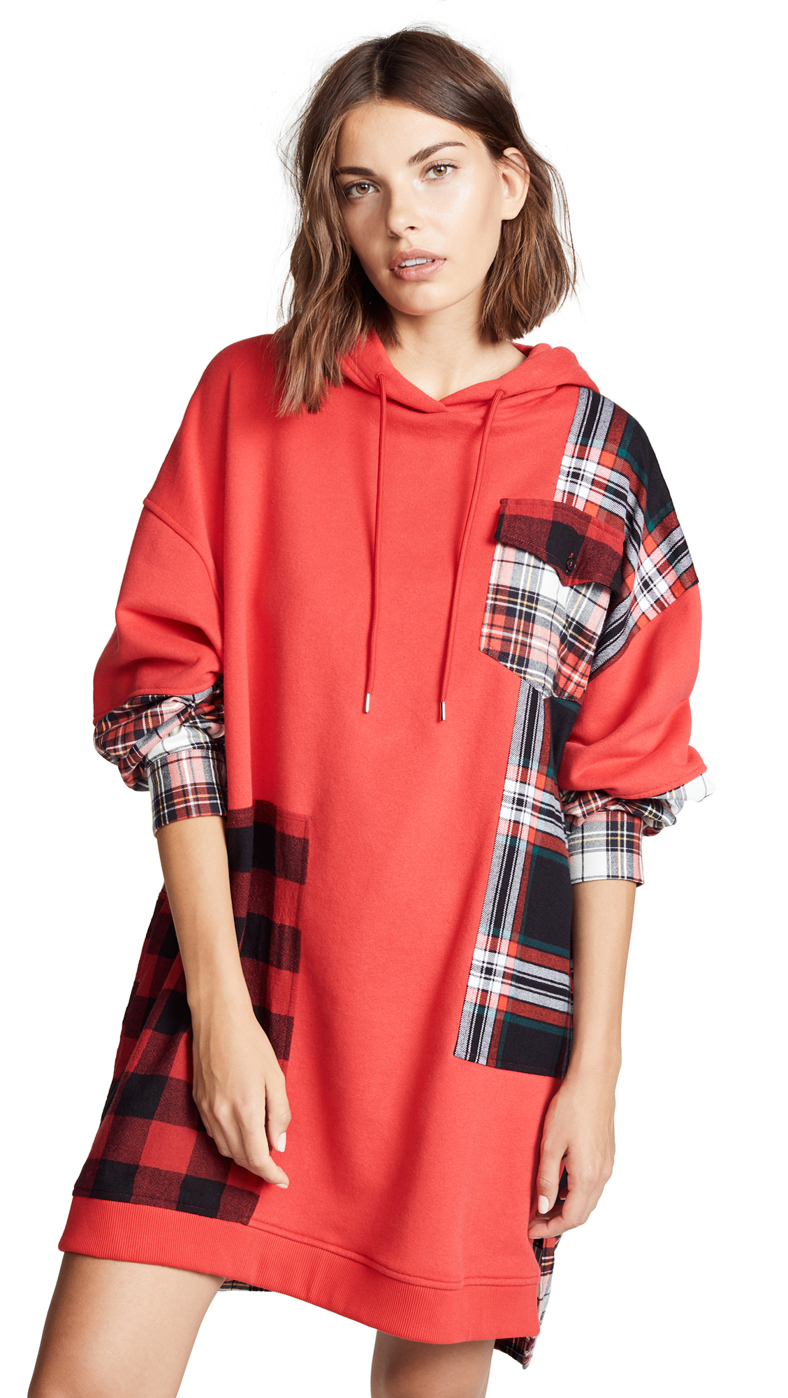 McQ - Alexander McQueen Patched Hoodie Dress In Riot Red