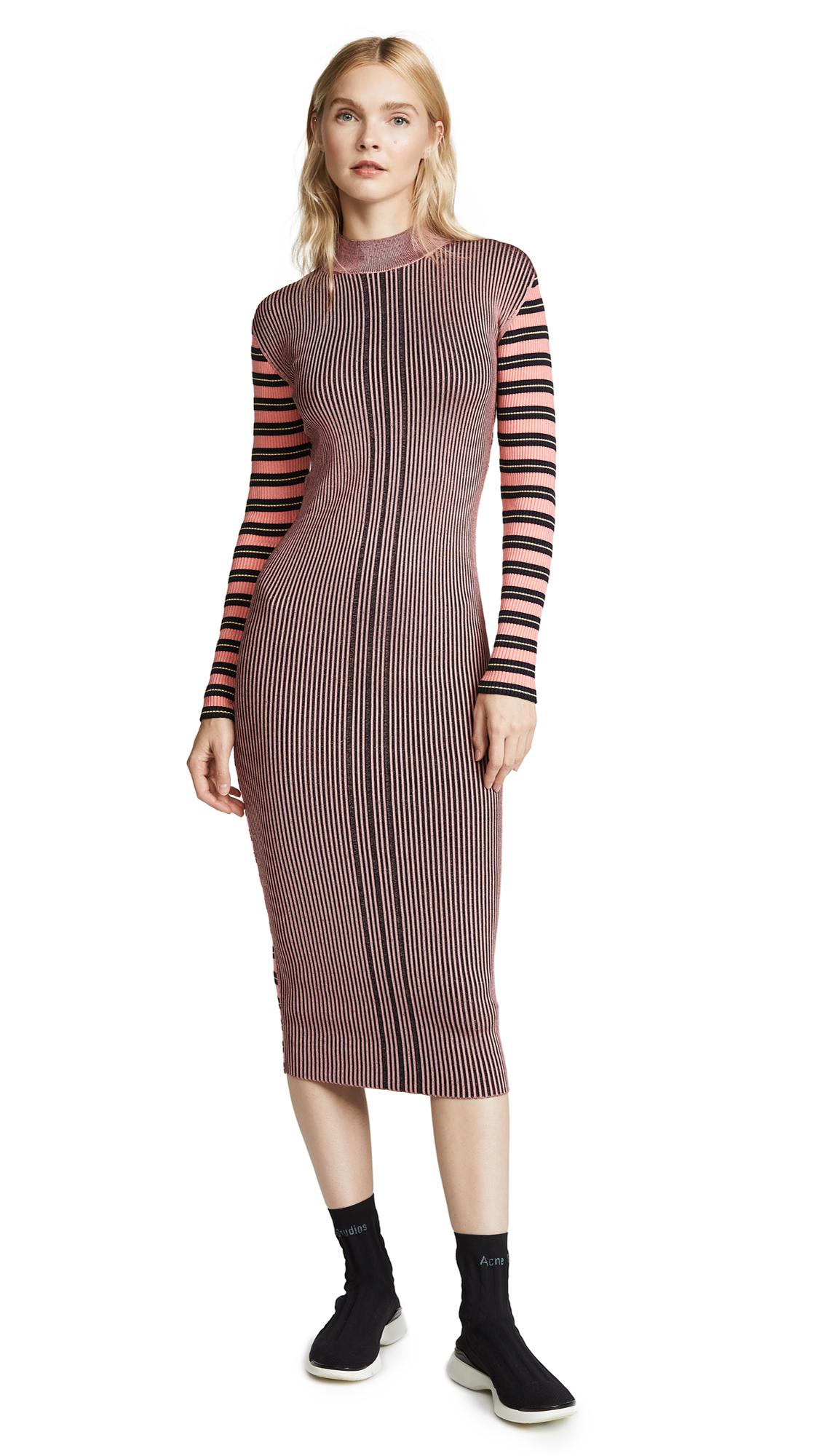 McQ - Alexander McQueen Ribbed Midi Dress In Fondant Pink