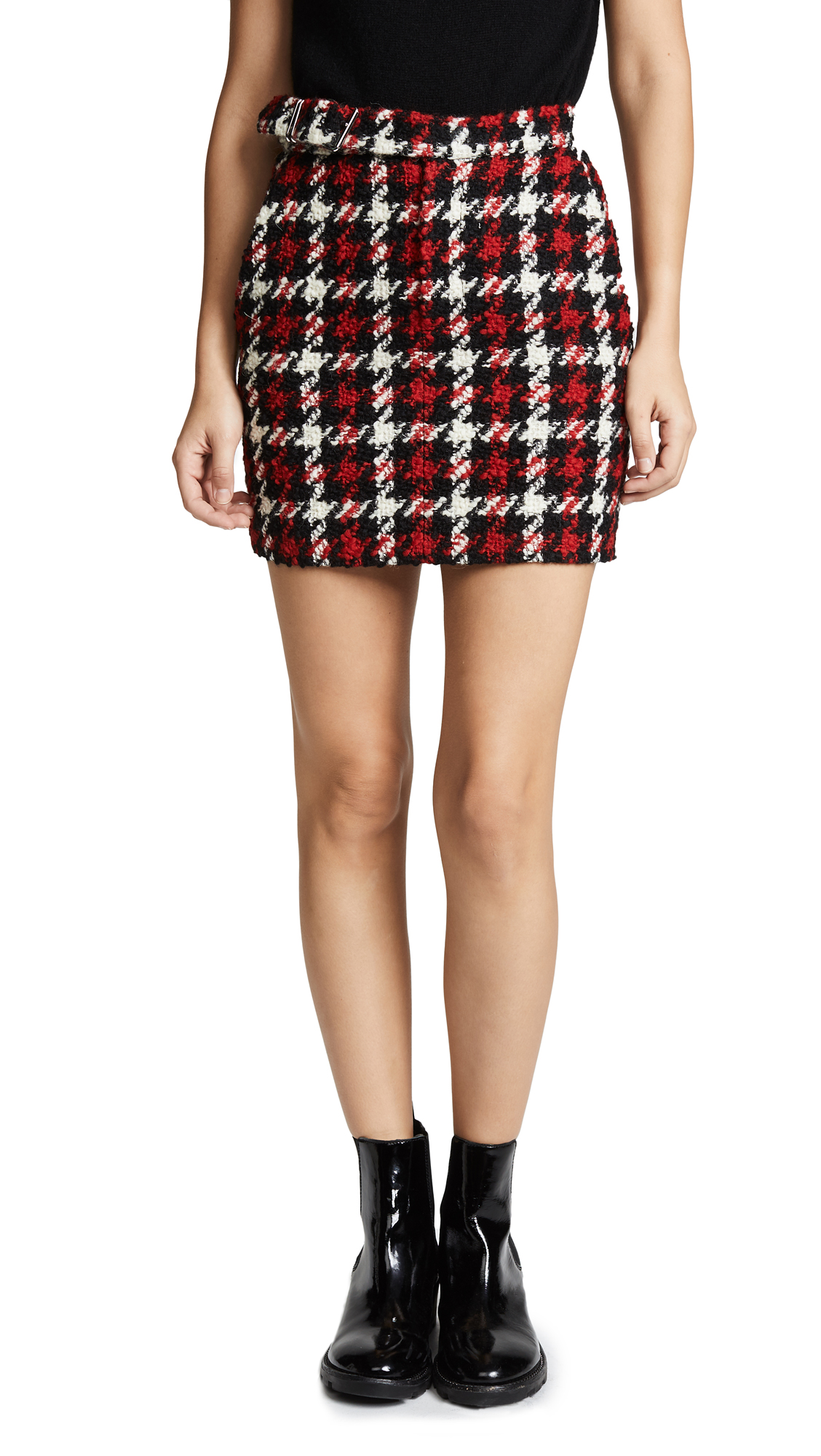 McQ - Alexander McQueen Belted Mini Skirt In Small Check