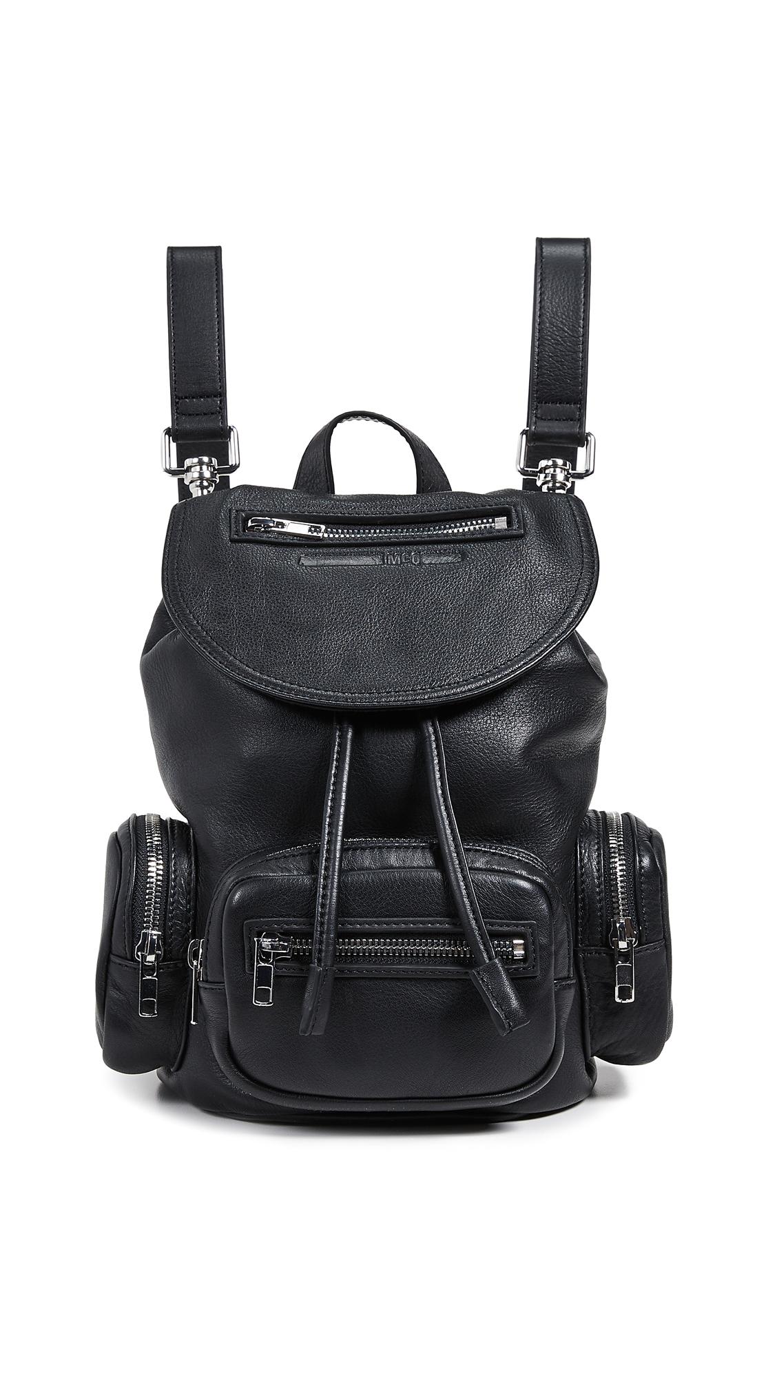 Mini Convertible Drawstring Backpack in Black