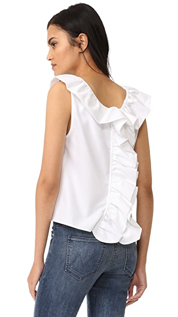 MDS Stripes Reversible Ruffle Top