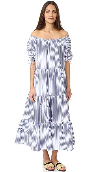 MDS Stripes Tiered Peasant Dress