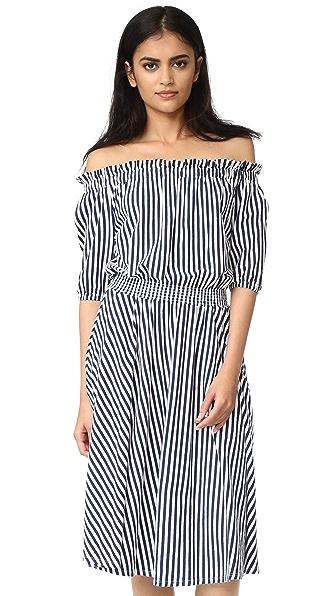 MDS Stripes Slim Smocked Dress