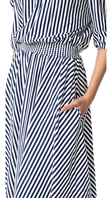 MDS Stripes Slim Smocked Dress