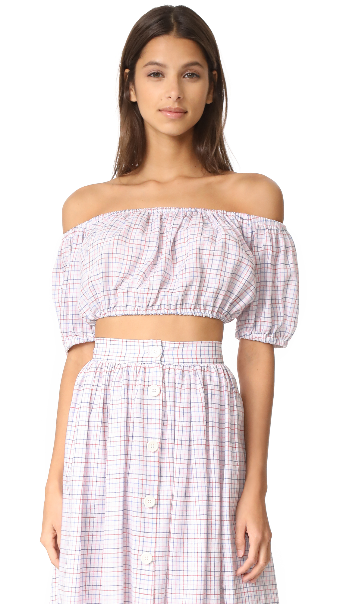 MDS Stripes Cropped Peasant Top - Check