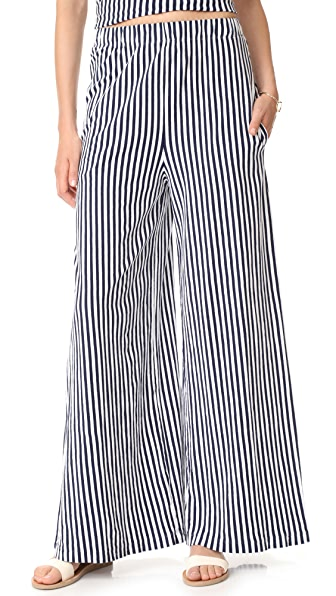 MDS Stripes Pia Palazzo Pants - Blue/White Stripe