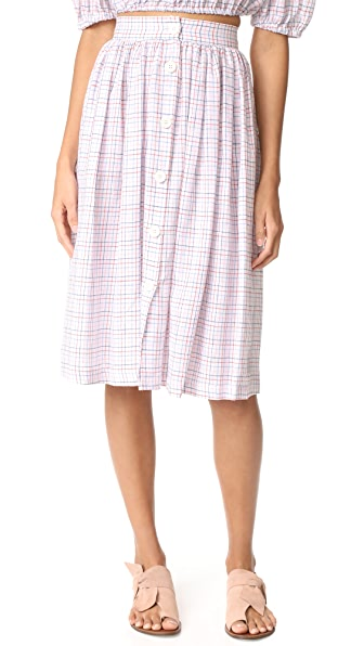 MDS Stripes Midi Button Skirt