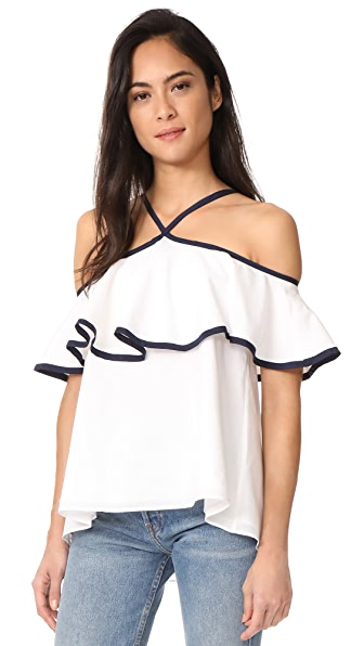 MDS Stripes Silk Cotton Ruffle Top In Ivory/Navy