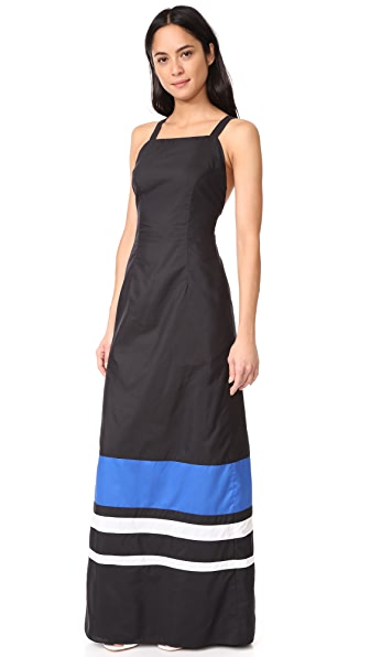 MDS Stripes Silk Cotton Colorblock Dress