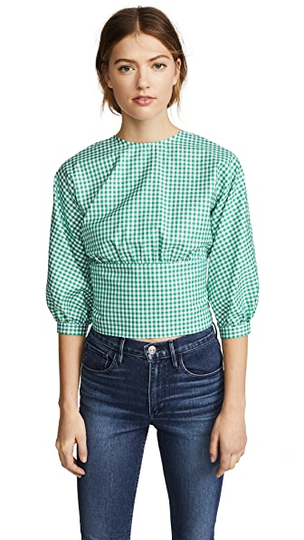 MDS Stripes Open Back Top In Green Check